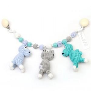 Kæde til barnevogn med flodhest, næsehorn og kamel